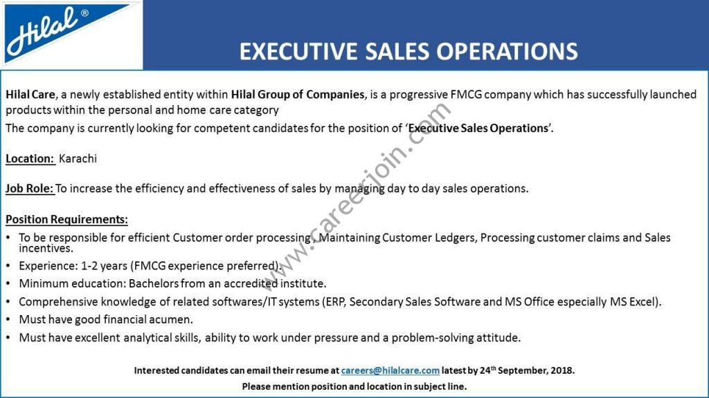 Hilal Care Pvt Limited Jobs Executive Sales Operations