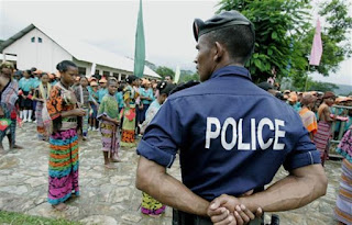 East Timor Police and community members in Dili.