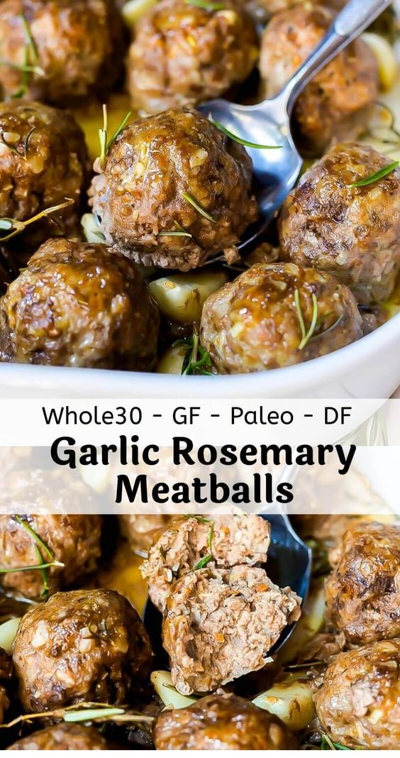 Garlic Rosemary Whole 30 Meatballs