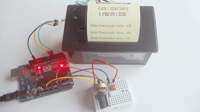Teste impressora Arduino Potenciômetro e botão