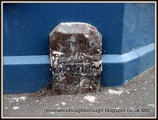 Milestone outside the Pack Horse pub Loughborough