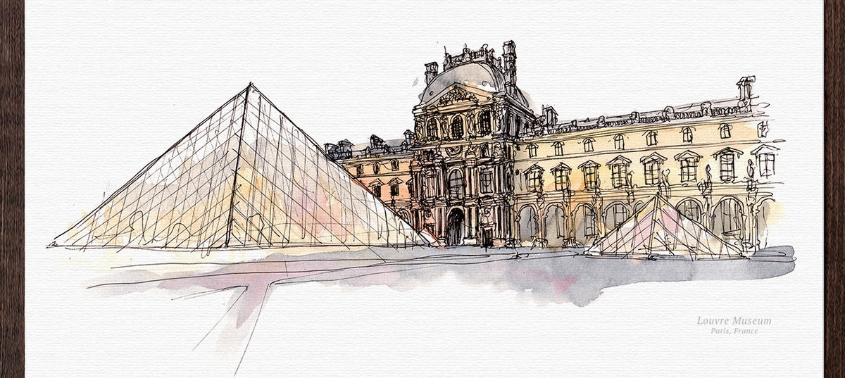 06-Louvre-Museum-France-Mucahit-Gayiran-Architectural-Landmarks-Watercolor-Paintings-www-designstack-co