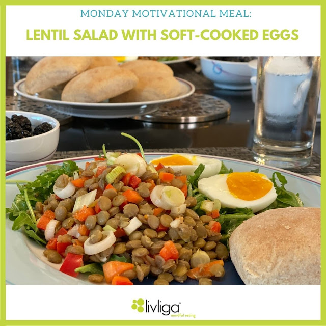 Monday Motivational Meal Lentil Salad with Soft-Cooked Eggs
