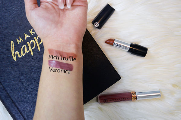 September beauty favourites swatches of Mary Kay gel semi-matte lipstick in rich truffle and Anastasia Beverly Hills liquid lipstick in Veronica