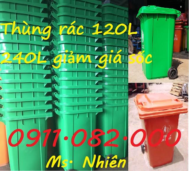 Phân phối thùng rác 120 lít 240 lít giá rẻ tại gia lai- lh 0911.082.000