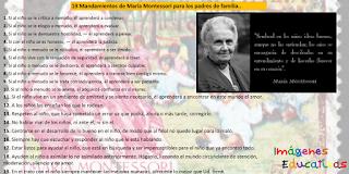 19 MANDAMIENTOS DE MARÍA MONTESSORI PARA LOS PADRES DE FAMILIA.