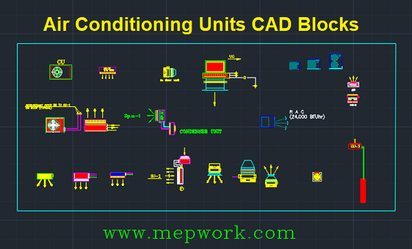 Air Conditioning Units CAD Blocks- Split, Cassette, Concealed & Package