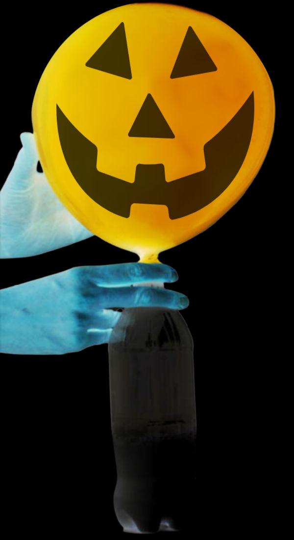 "Use science to ""magically"" form a jack-o-lantern! #halloween #halloweenscienceexperimentsforkids #balloonexperiment #magicjackolantern #growingajeweledrose #activitiesforkids"