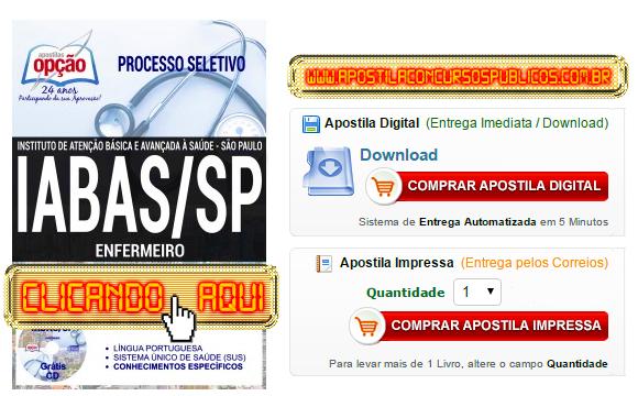 Apostila Concurso IABAS SP 2017 Enfermeiro PDF Impressa