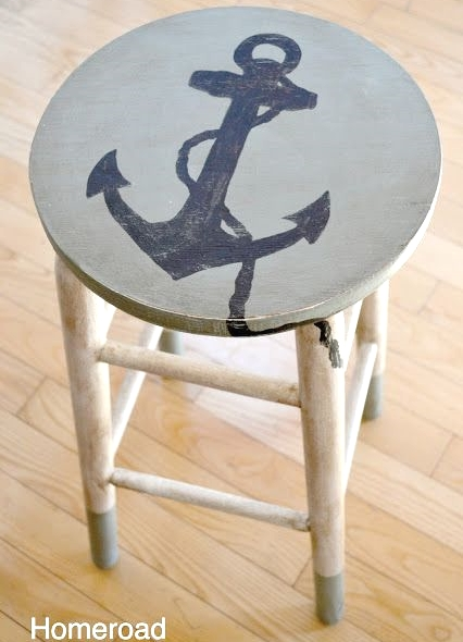 painted stool with anchor