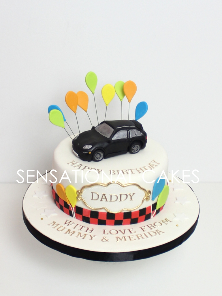 The Sensational Cakes: PORSCHE 3D CAKE FOR DADDY , RED WHITE BLACK ...