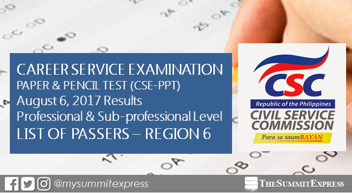 LIST OF PASSERS: Region 6 August 2017 Civil Service Exam Results CSE-PPT