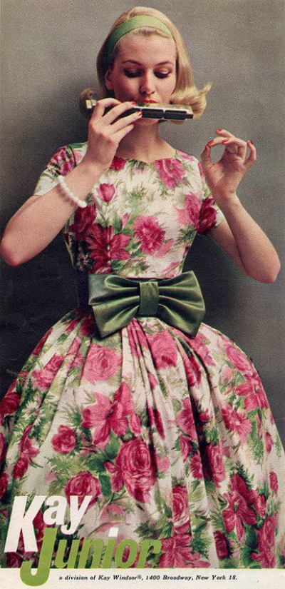 Model in Kay Junior Flower Print Garden Party Dress Ad 1959