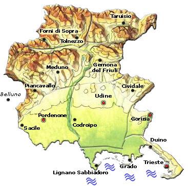 Cartina Italia Friuli Venezia Giulia.Italia Mappa Regionale Mappa Del Friuli Venezia Giulia