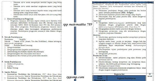 Download Rpp Matematika Smp Kelas 7 8 9 Kurikulum 2013 Revisi 2017 Semester 1 2 Ganjil dan Genap Lengkap Silabus Promes Prota Dll