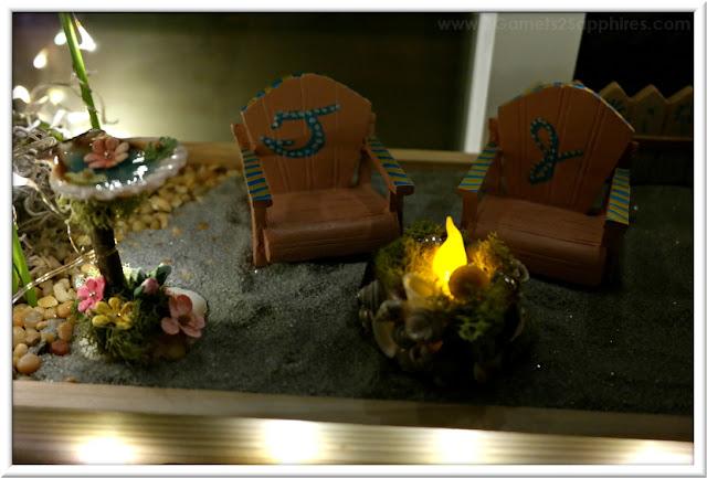 Painted Beach Fairy Garden Adirondak Chairs with Fire Pit and Seashell Birdbath  |  3 Garnets & 2 Sapphires