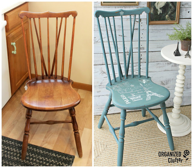 Spindle Chair Upcycle with Milk Paint & A French Stencil
