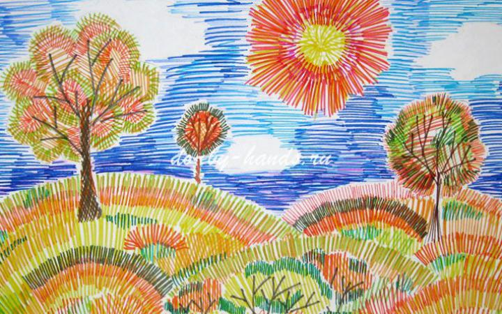 Урок рисования в 1 классе пейзаж
