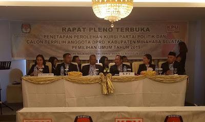 KPU Minsel Menetapkan 30 Calon Anggota DPRD Terpilih