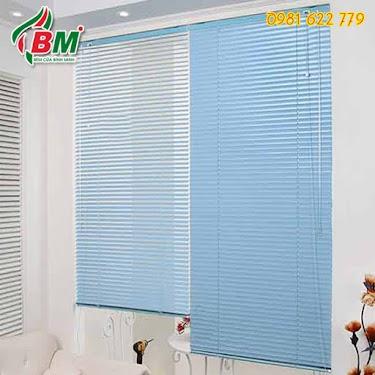 Rèm sáo lá ngang (nhôm) màu xanh dương nhẹ chuyên dụng cho nhà bếp chống cháy nổ ẩm ướt,,mát mẻ sang trọng,.0981.622.779