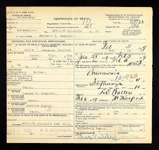Herbert Campbell's death certificate