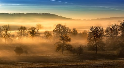 Mist across the valley, Creuse, France, countryside, creusoise, paysage