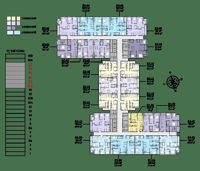Mặt bằng tầng 18A - 22 chung cư Florence