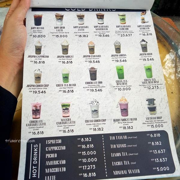 menu dan harga minuman di kopi truk bandung