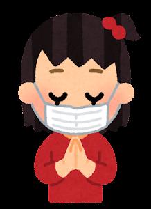 マスクを付けてお参りする家族のイラスト(私服・女の子)