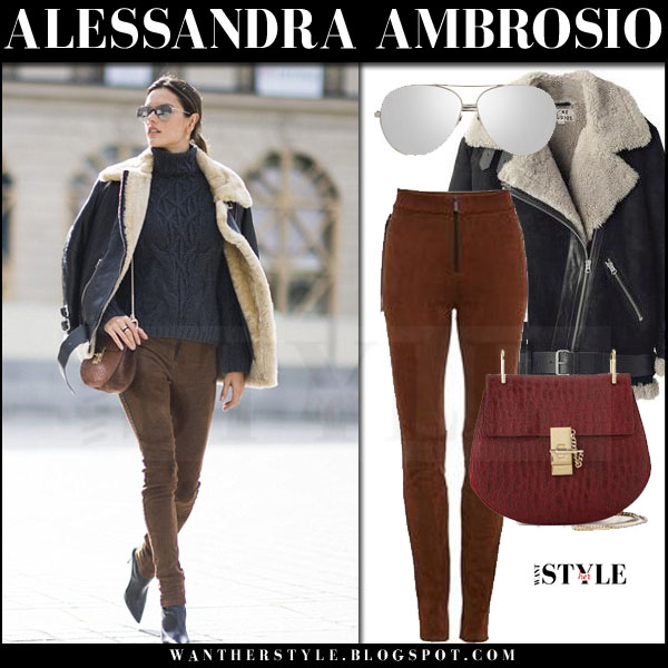 Alessandra Ambrosio in black oversized leather acne velocite jacket and brown leather trousers what she wore streetstyle pfw
