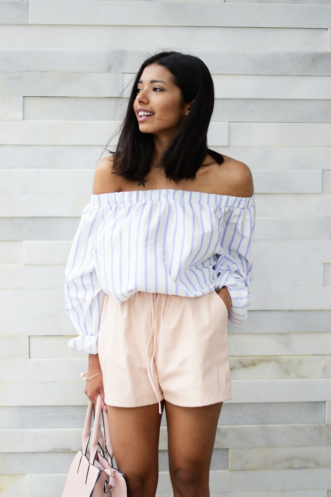 off-shoulder top outfit