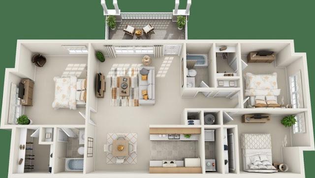 house plans 3 rooms 7 meters wide