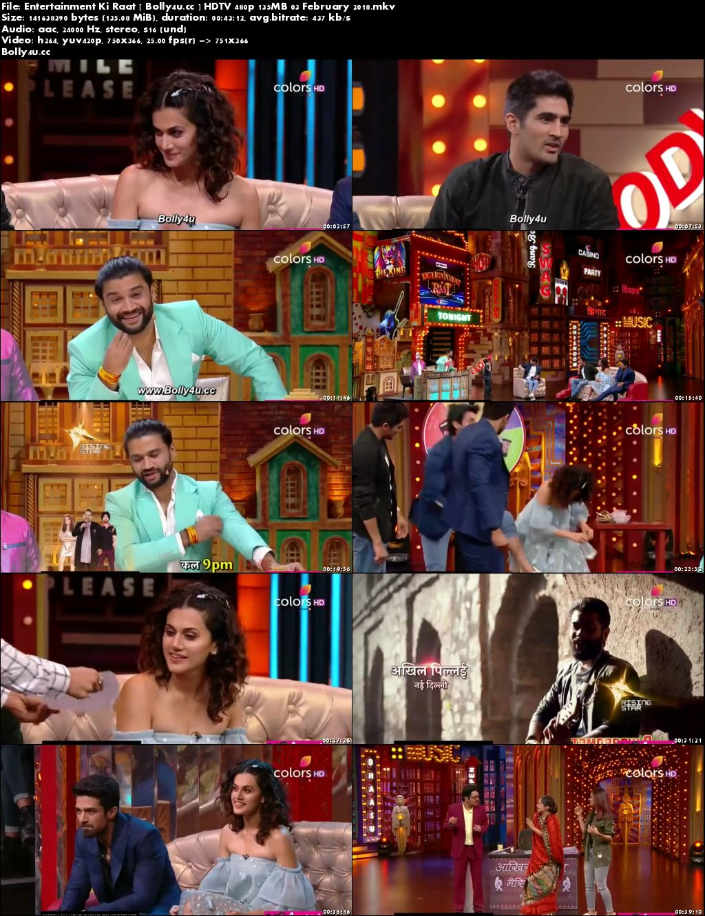 Entertainment Ki Raat HDTV 480p 130MB 03 February 2018 Download