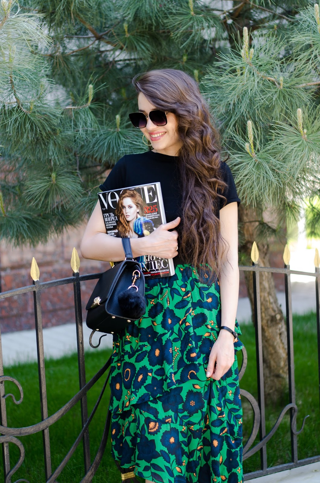 fashion blogger diyorasnotes diyora beta green skirt mango flats