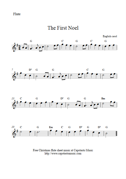 picture regarding Free Printable Flute Sheet Music named The Initially Noel Absolutely free simple Xmas flute sheet new music