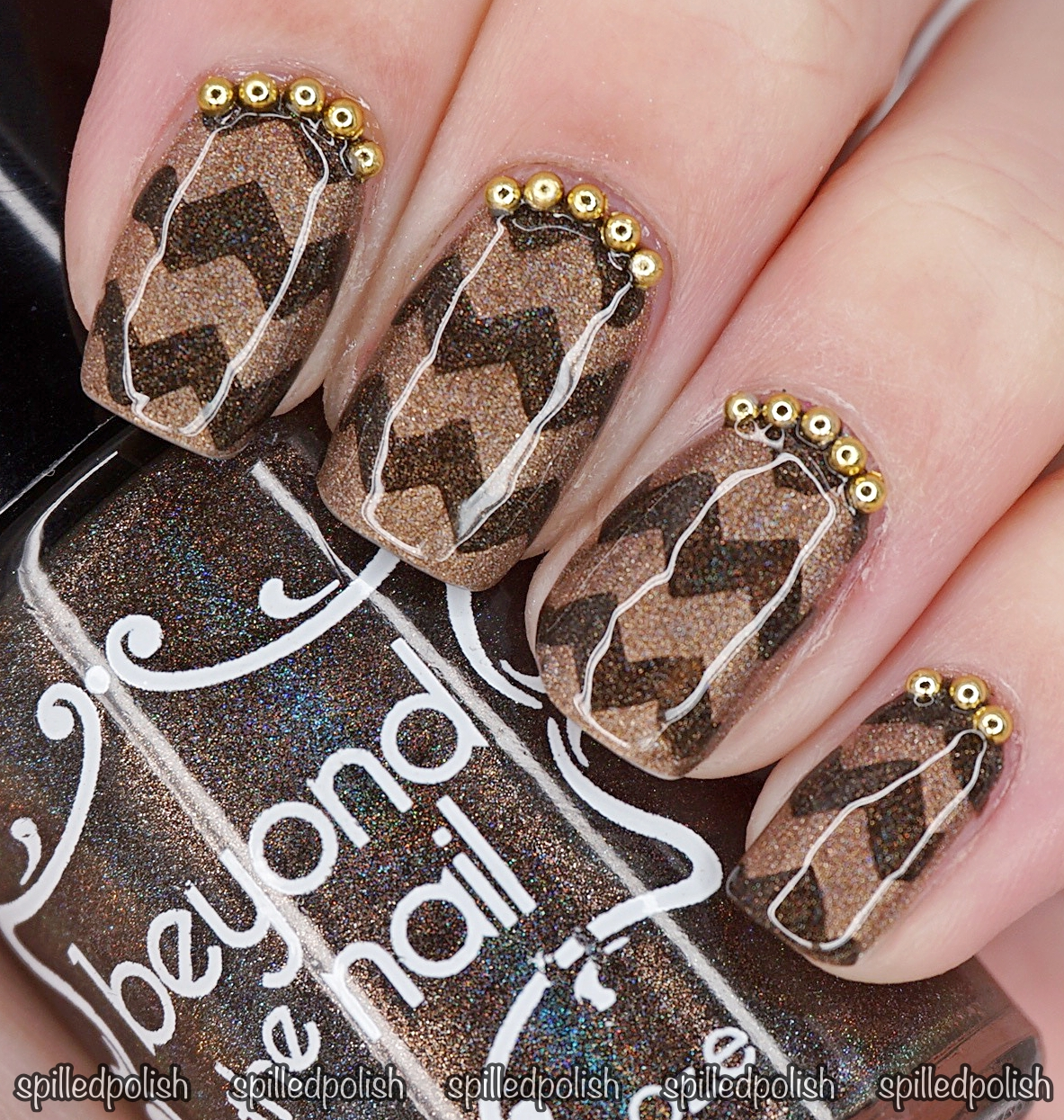 Brown Holographic Chevron Nails - Spilledpolish