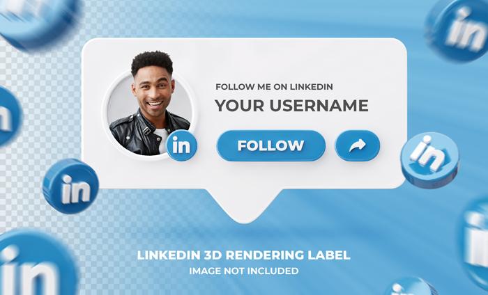 Banner Icon Profile Linkedin 3D Lendering Label Template