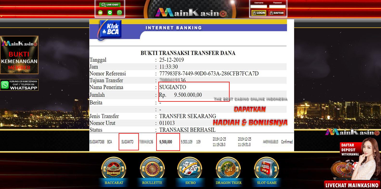 Selamat Kepada Member Setia MAIN KASINO Withdraw RP 9.500.000