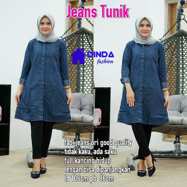 Baju Jeans Tunik Lengan Panjang Warna Biru