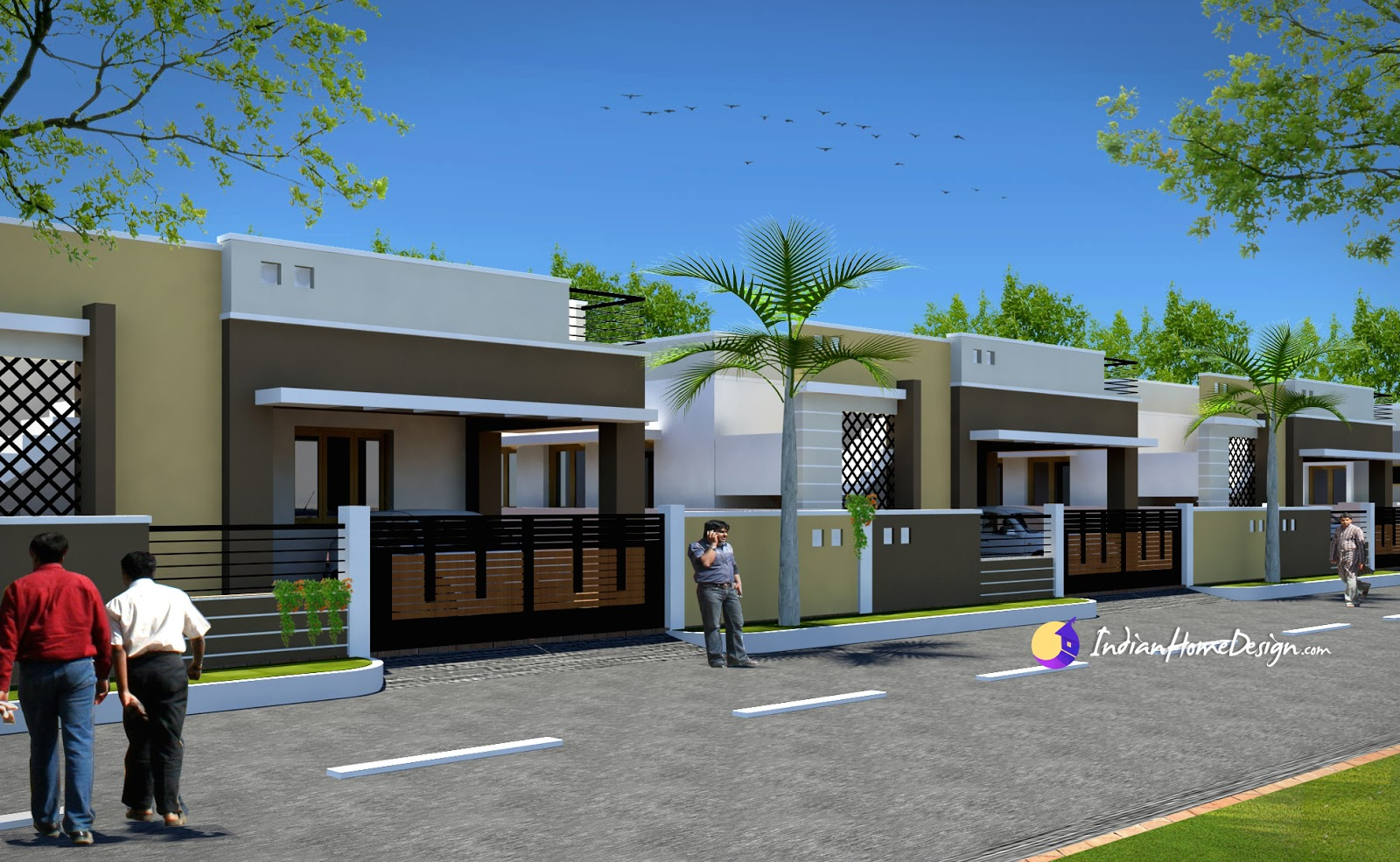 Contemporary Low cost 800 sqft 2 Bhk Tamil Nadu Style Row House Design by NS Architect