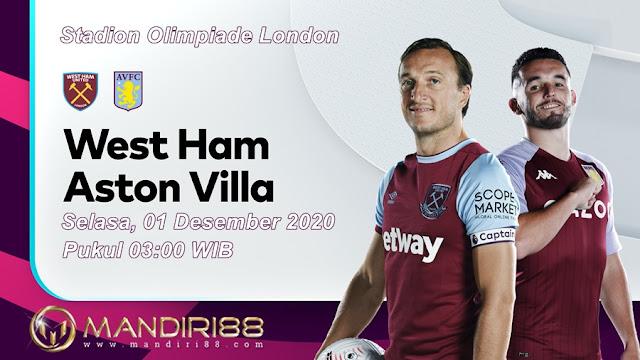 Prediksi West Ham United Vs Aston Villa, Selasa 01 Desember 2020 Pukul 03.00 WIB @ Mola TV