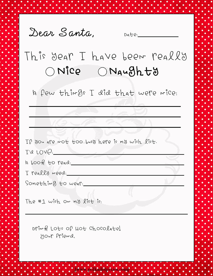 christmas list to santa template – Printable Christmas List Template
