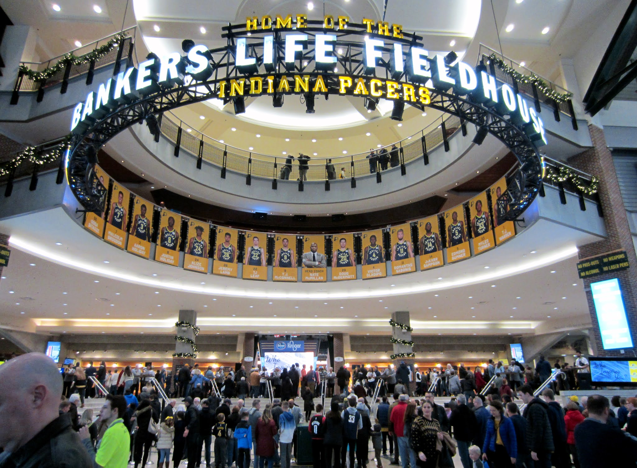 The Bankers Life Fieldhouse atrium leading into the arena itself