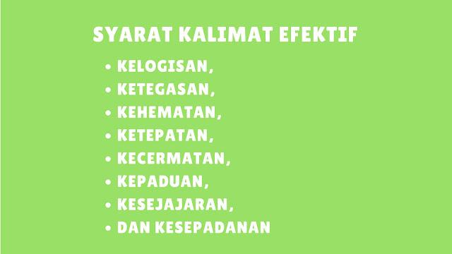 Syarat-Syarat Kalimat Efektif