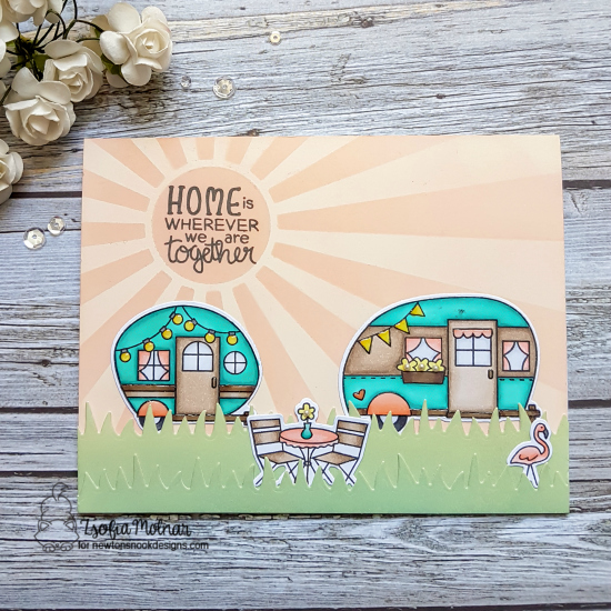 Camper Card by Zsofia Molnar | Cozy Campers Stamp Set and Sunscape Stencil by Newton's Nook Designs #newtonsnook #handmade