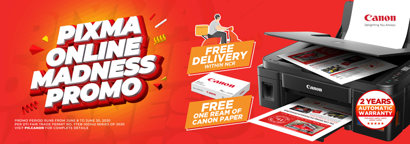 Canon PH offers FREE NCR delivery and ream of paper for Pixma G and E series