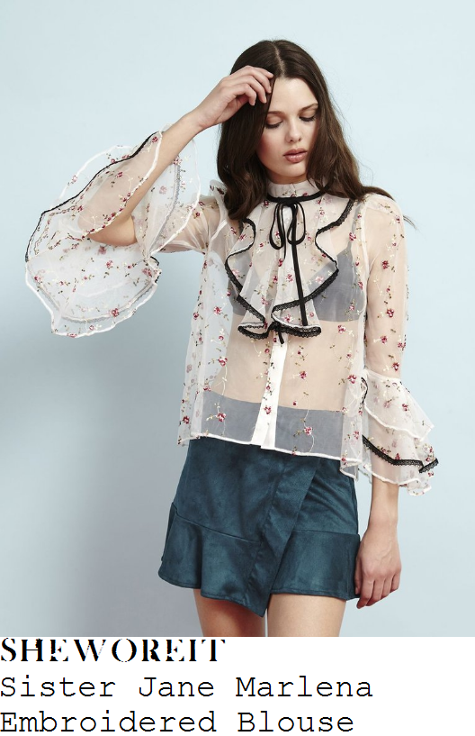 rosie-fortescue-sister-jane-marlena-cream-black-pink-and-green-rose-embroidered-sheer-organza-three-quarter-sleeve-ruffle-lace-trim-detail-blouse