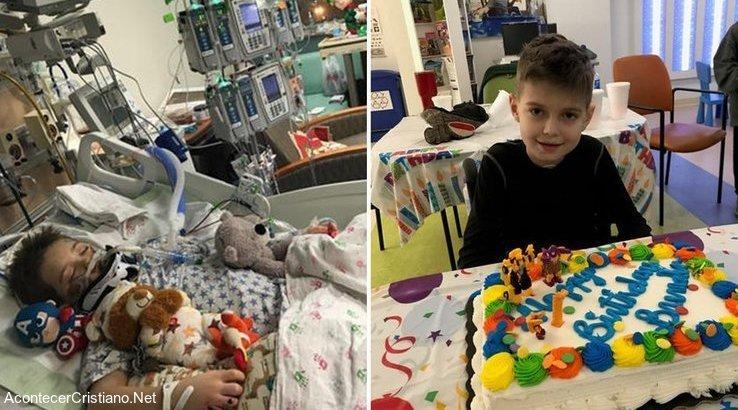 Niño se recupera de hemorragia cerebral en hospital
