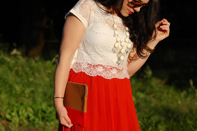 Vancouver fashion blogger,Eyelash lace crop top, pleated red maxi skirt, Ily Couture statement necklace, Aldo Heliette heels and a Gap clutch.