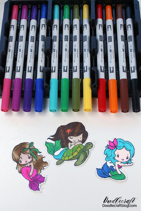 Tombow makes 108 different shades of ABT PRO Alcohol Based Markers, and I love all 108 of them! Here's the Basic Palette, a great place to start.  Use some small scissors to cut the image out, I like to leave a small border of white around the edges.